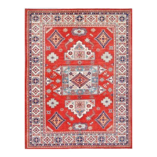 Herat Oriental Afghan Hand-knotted Tribal Vegetable Dye Super Kazak Red/ Ivory Wool Rug (9'1 x 12')