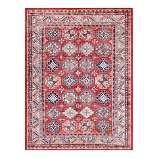 Herat Oriental Afghan Hand-knotted Tribal Vegetable Dye Super Kazak Red/ Ivory Wool Rug (9' x 12')