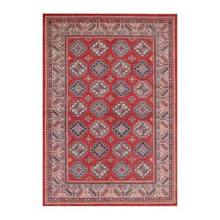 Herat Oriental Afghan Hand-knotted Tribal Vegetable Dye Super Kazak Red/ Ivory Wool Rug (8'8 x 12'8)