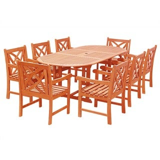 Eco-Friendly 9-Piece Wood Outdoor Dining Set with Oval Extension Table and Flower Back Armchairs V144SET25