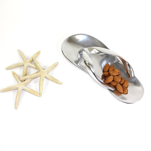 Coastal Silver Small Flip Flop Cracker Trays (Set of 2)