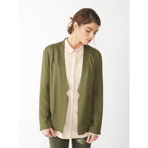 Alternative Women's Green Rayon Twill Notch Blazer