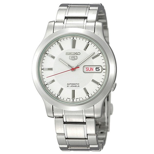 Seiko Men's Automatic White Dial Silver Stainless Steel Bracelet Watch SNK789
