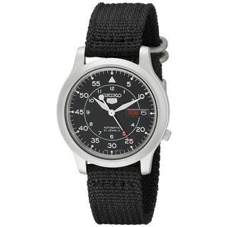 Seiko Men's Automatic Black Dial Black Canvas Watch SNK809