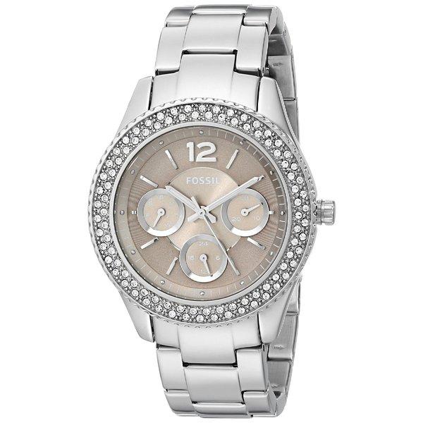 Fossil Women's Stella Diamond Multi-Function Brown Dial Stainless Steel Watch ES3733