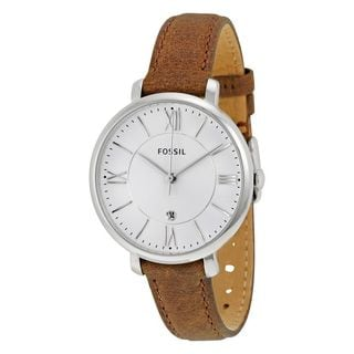 Fossil Women's Jacqueline Silver Dial Brown Leather Strap Quartz Watch ES3708