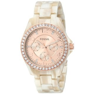 Fossil Women's Stella Diamond Multi-Function Rose Dial Pearlized Resin Bracelet Watch ES3579