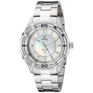 Bulova Women's Marine Star Mother Of Pearl Dial Stainless Steel Quartz Watch 96L145