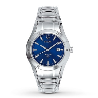 Bulova Men's Marine Star Blue Dial Stainless Steel Watch 96G92
