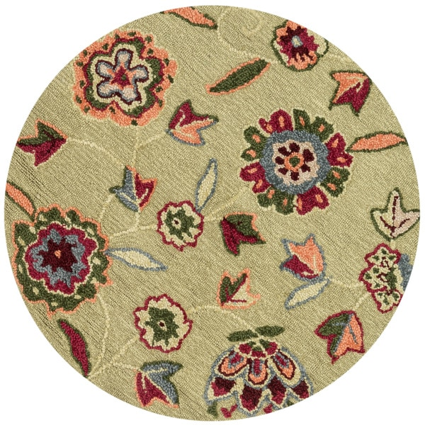 Hand-hooked Peony Green Floral Round Rug (3' Round)