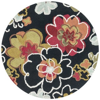 Hand-hooked Peony Black Multi Floral Round Rug (3' Round)