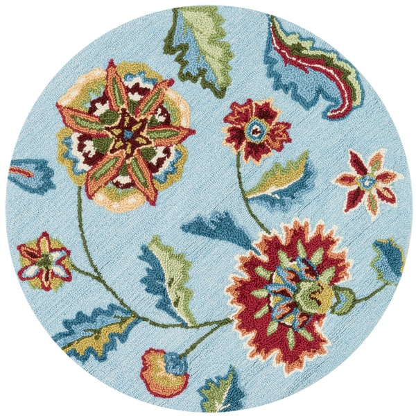 Hand-hooked Peony Blue Floral Round Rug (3' Round)