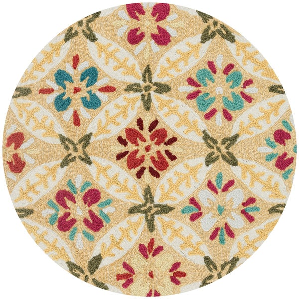 Hand-hooked Peony Buttercup Round Rug (3' Round)