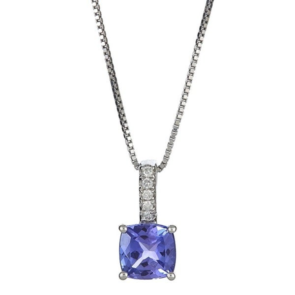 Anika and August 14k White Gold Cushion-cut Tanzanite and Diamond Accent Pendant