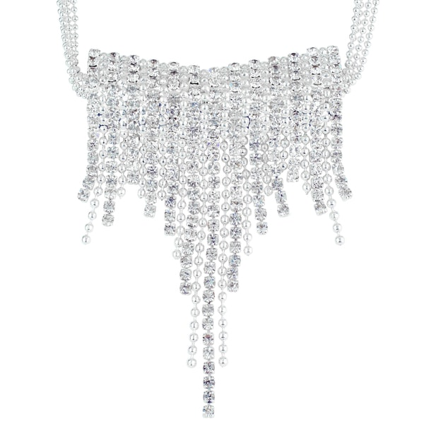 """Roman Crystal Waterfall Cupchain Frontal Necklace, 16+3"""""""