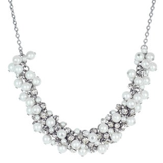 Roman Faux White Pearl Crystal Cluster Frontal Statement Necklace