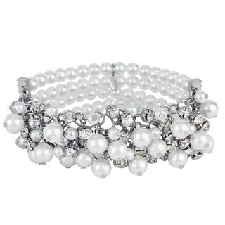 Roman Faux White Pearl Faceted Crystal Cluster 4-row Bracelet