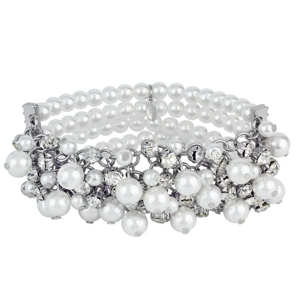 Roman Faux Cream Pearl Faceted Crystal Cluster 4-Row Bracelet