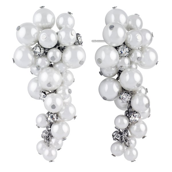 Roman Faux Cream Pearl Faceted Crystal Dangle Drop Earrings
