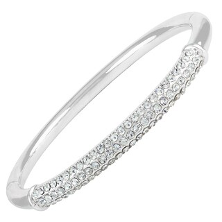Roman Pave Clear Crystal Silver-Tone Bangle Bracelet