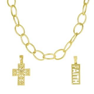 Roman Link Chain, Filigree Cross and Faith Slide Pendant Interchangeable Necklace Set