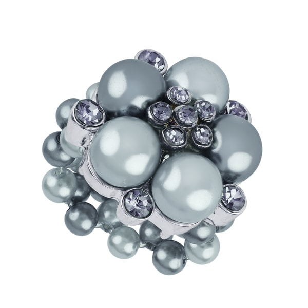 Roman Silver Faux Grey Pearl Crystal Flower Cocktail Stretch Ring