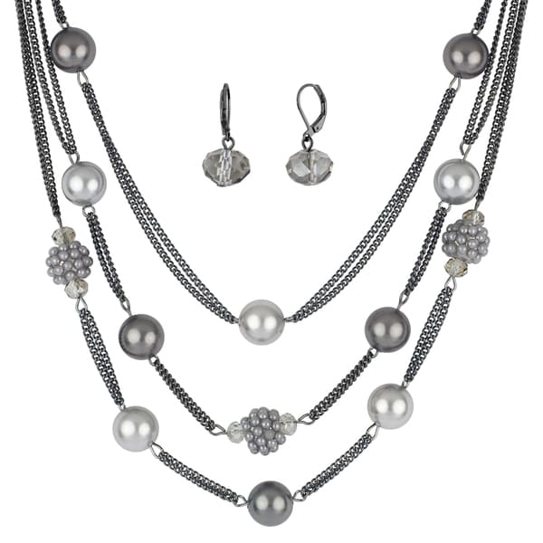 Roman Faux Grey Pearl Beaded 3-Row Station Necklace Drop Earrings Set