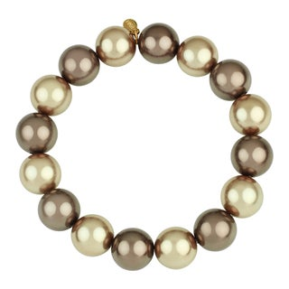 Roman Faux Brown Mocha Pearl Tonal Beaded Stretch Bracelet, 12mm
