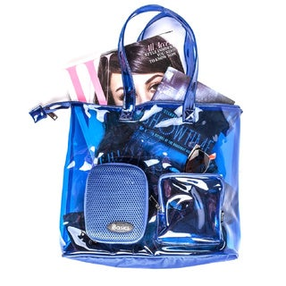 iBasics Clear Blue Tote Bag with Built-in Speaker