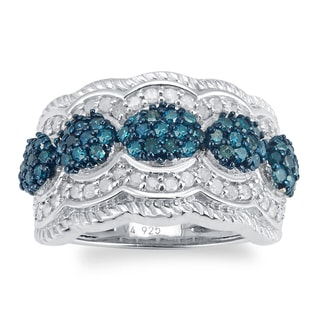 Sterling Silver 1.00ct TDW Blue and White Diamond Band Ring