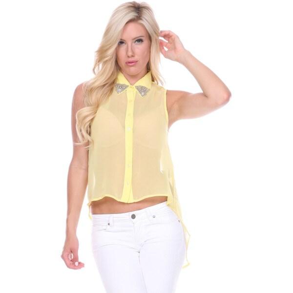 Stanzino Women's Sleeveless Collared Studded Top