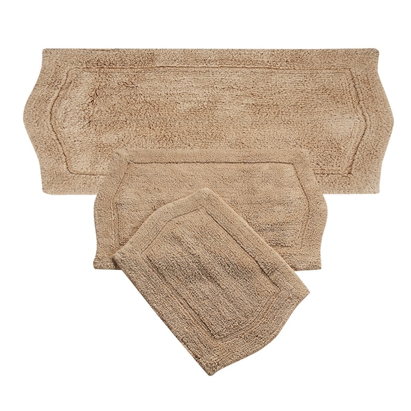 Waterford rug 3 piece bath rug set in natural for Bathroom 3 piece rug set