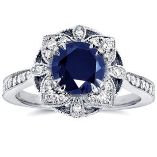 Annello 14k White Gold Round-cut Sapphire and 1/4ct TDW Diamond Floral Antique Ring (G-H, I1-I2)