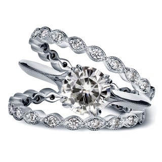 Annello 14k White Gold Moissanite and 3/4ct TDW Diamond Antique Geometric Flower 3-Piece Bridal Rings Set (G-H, I1-I2)