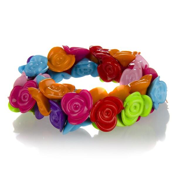 Crummy Bunny Little Girl Rainbow Flower Stretch Bracelet