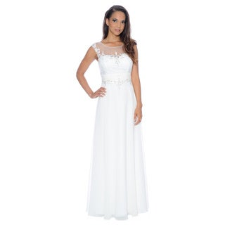Decode 1.8 Women's Ivory Illusion Evening Gown