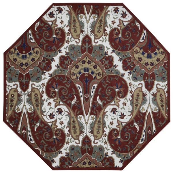Red Paisley Wave Octagon Rug (6' x 6') 15800432