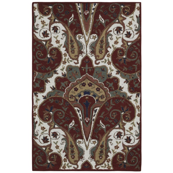Red Paisley Wave Rug (4' x 6') 15800434