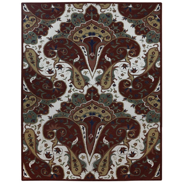 Red Paisley Wave Rug (8' x 11') 15800436