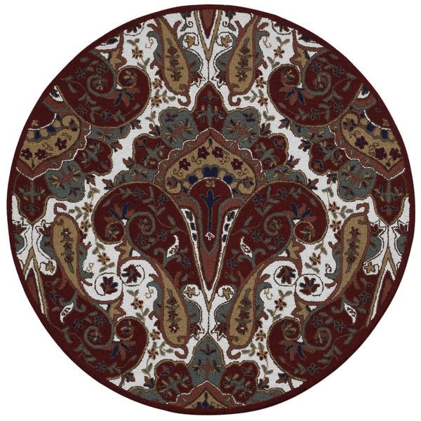Red Paisley Wave Round Rug (8' x 8') 15800440
