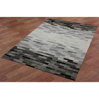 Grey Blend Leather Hair-On Hide Matador Rug (4' x 6')