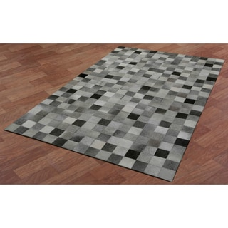 White Squares Leather Hair-On Hide Matador Rug (5' x 8')
