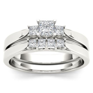 De Couer 14k White Gold 1/2ct TDW Diamond Three-Stone Engagement Ring Set with One Band (H-I, I2)