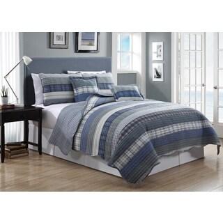 Avondale Manor Astor 5-Piece Quilt Set Blue Stripes