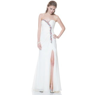 Bari Jay Ruched Chiffon Multicolor Beaded Sweetheart A-line Gown