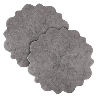 Sherry Kline Over Tufted Petals Grey Bath Rug (Set of 2)