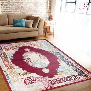 Traditional Oriental Medallion Design Navy/Multi-colored Indoor Area Rug (5'3 x 7'3)