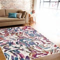 Distressed Geometric Boxes Multi-colored Indoor Area Rug (7'10 x 10'2)