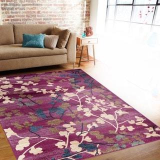 Contemporary Floral Purple Indoor Area Rug (5'3 x 7'3)