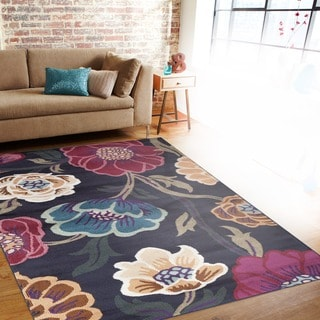 Modern Transitional Leaves Navy Indoor Area Rug (5'3 x 7'3)